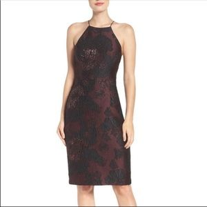 Vera Wang Maroon Wine Midi Cocktail Dress 14